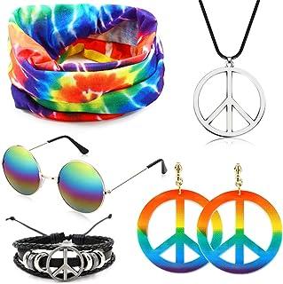 SPECOOL Conjunto de Disfraces Hippie Accesorios Hippie Collar y aretes Rainbow Peace Pulsera Rainbow Headband Gafas de Sol...