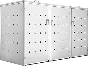 Zelsius Edelstahl Mülltonnenbox Rhombus für 3 Mülltonnen je 120 und/oder 240 Liter, Mülltonnenverkleidung mit 3 Klappdecke...