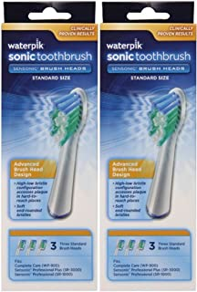 Waterpik SRRB-3W Sensonic Replacement Toothbrushes (Standard Head Size)6 Count