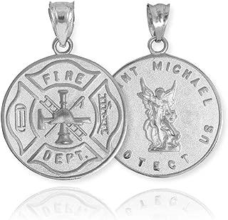 10k White Gold Fireman Protection Shield Medal of St Michael Firefighter Charm Pendant