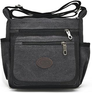 Qflmy Vintage Canvas Messenger Bag Handbag Crossbody Shoulder Bag Leisure  Change Packet (black) dfb316ddeef87