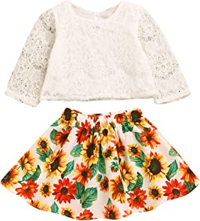 Skirt Sets for Baby Girls Long Sleeve Lace Top + Sunflower Tutu Skirts Spring Outfits Set