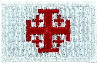 Akachafactory Haftowana aplikacja, do plecaka, flaga Jerozolima, Tempelritter, krzyż, biała