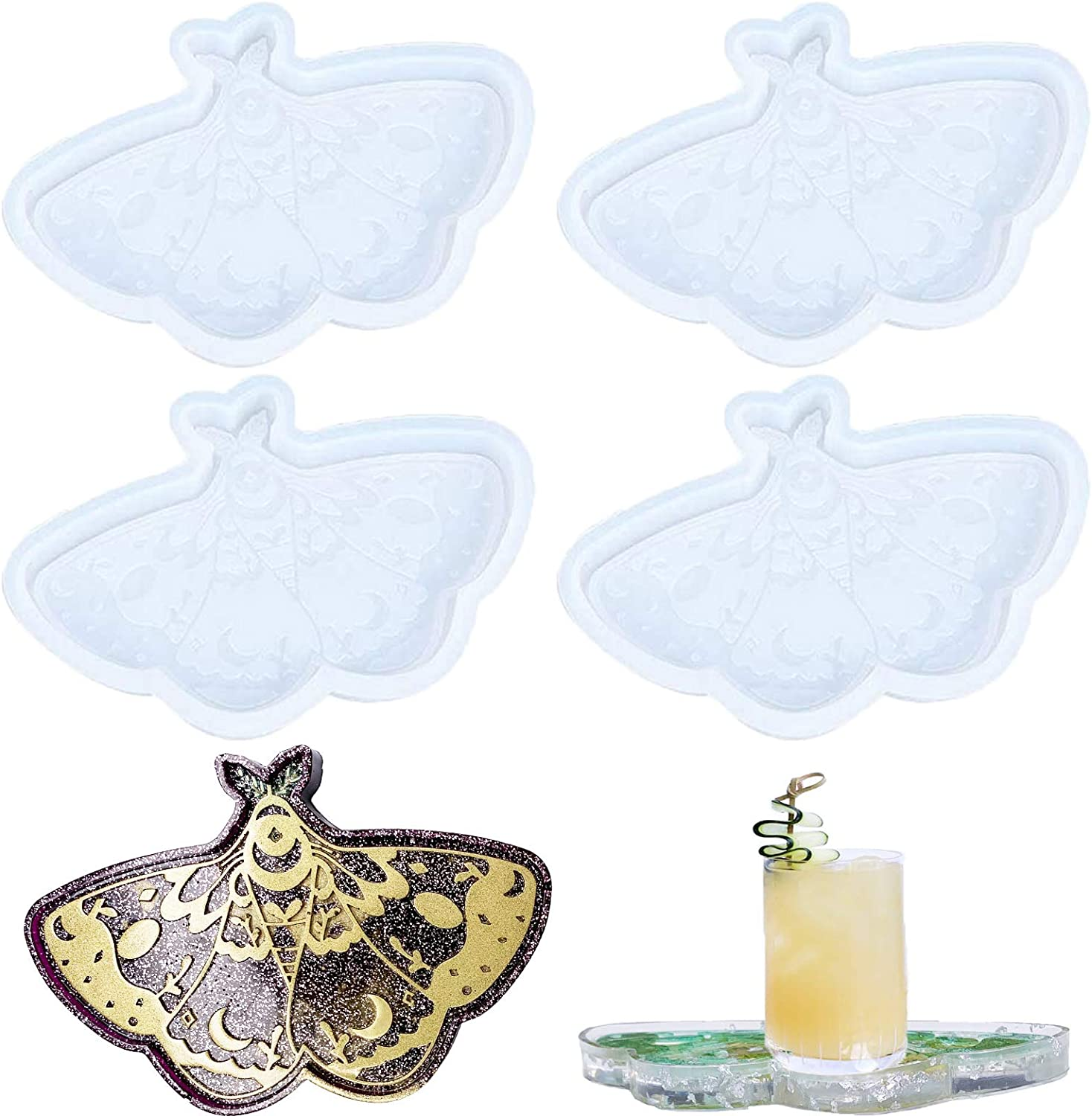 4 Pieces Butterfly Coaster Resin Epo DIY Mat Molds Cup New Directly managed store products world's highest quality popular