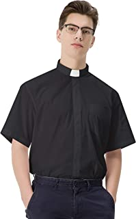 Men's Clergy Shirt Short Sleeves with Free White Tab Collar