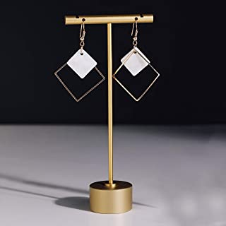 GemeShou BanST Gold Metal Small Earring T Bar Stand Retail Display Holder, Retail Jewelry Photography Props for Show【Gold-...