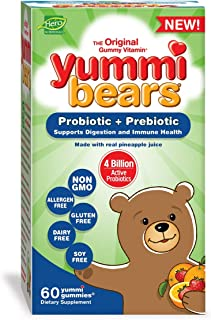 Yummi Bears Probiotic and Prebiotic Gummy Vitamins for Kids, 60 Count (Pack of 1)