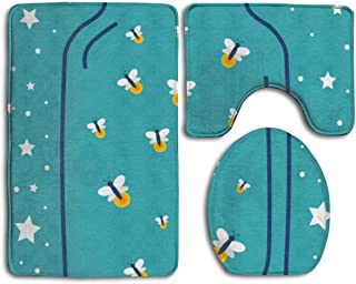 Firefly in Jar 3 Pack Bath Mat Set Non-Slip Flannel for Men and Women Antibacterial Toilet Seats, Bathroom Carpets, Bathroom Accessories