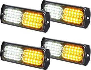 ASPL 4pcs Sync Feature 24-LED Surface Mount Flashing Strobe Lights for Truck Car Vehicle LED Mini Grille Light Head Emergency Beacon Hazard Warning lights (Amber/White)