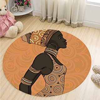 MOOCOM African Woman Decorative Round Mat,Indigenous People of Africa Theme Local Woman in Traditional Turban and Dress Decorative for Bathroom,39''R