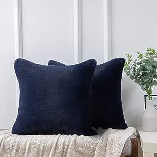 Ashler Ultra Soft Throw Pillows Faux Rabbit Fur Pack of 2 Decorative Pillow Cushion Cover Navy Blue 18 x 18 inches 45cm x 45cm