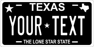PhotoZoneGa 50 State Personalized Custom Novelty Tag Vehicle Auto Car Bike Bicycle Motorcycle Moped Key Chain License Plate (Texas Black)