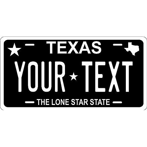 Texas License Plate Personalized Custom Auto Car Bike Bicycle Tag BLACK