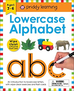 Wipe Clean Workbook: Lowercase Alphabet (Enclosed Spiral Binding): Ages 3-6; With Pen & Flash Cards