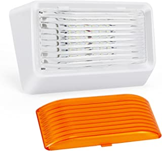 Kohree LED RV Porch Light Exterior Utility Light 12v Lighting Fixture, 280 Lumen, Replacement Lighting for RVs, Trailers, Campers, 5th Wheels. White Base, Clear and Amber Lenses Included