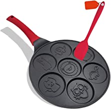 Pancake Pan Mold Pancake Maker Non-stick Pancake Griddle 10 Inch Griddle Grill Pan Mini Crepe Maker 7-Mold Pancakes with S...