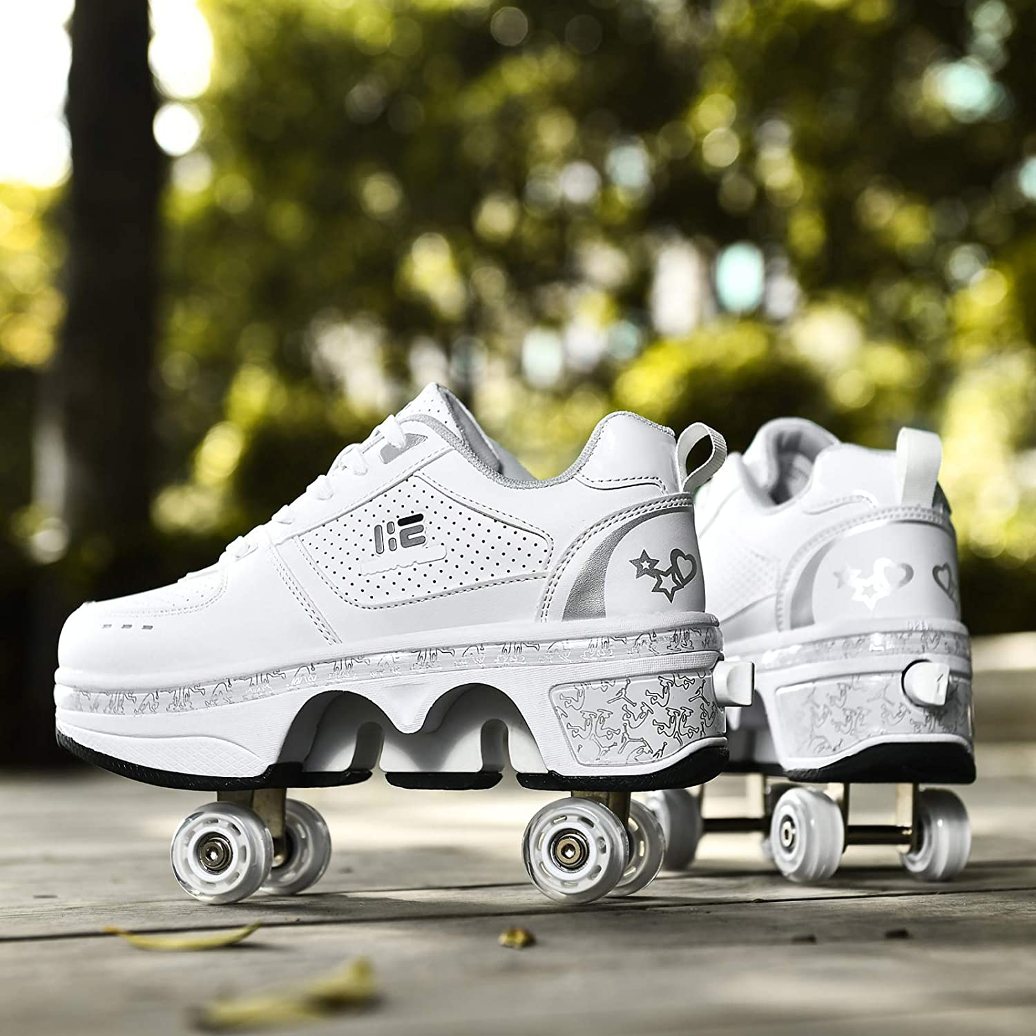 Kick Roller Shoes Skate Outdoor Running Shoes With Wheel For Adults Kids,EU33 Walk Deformation Shoes