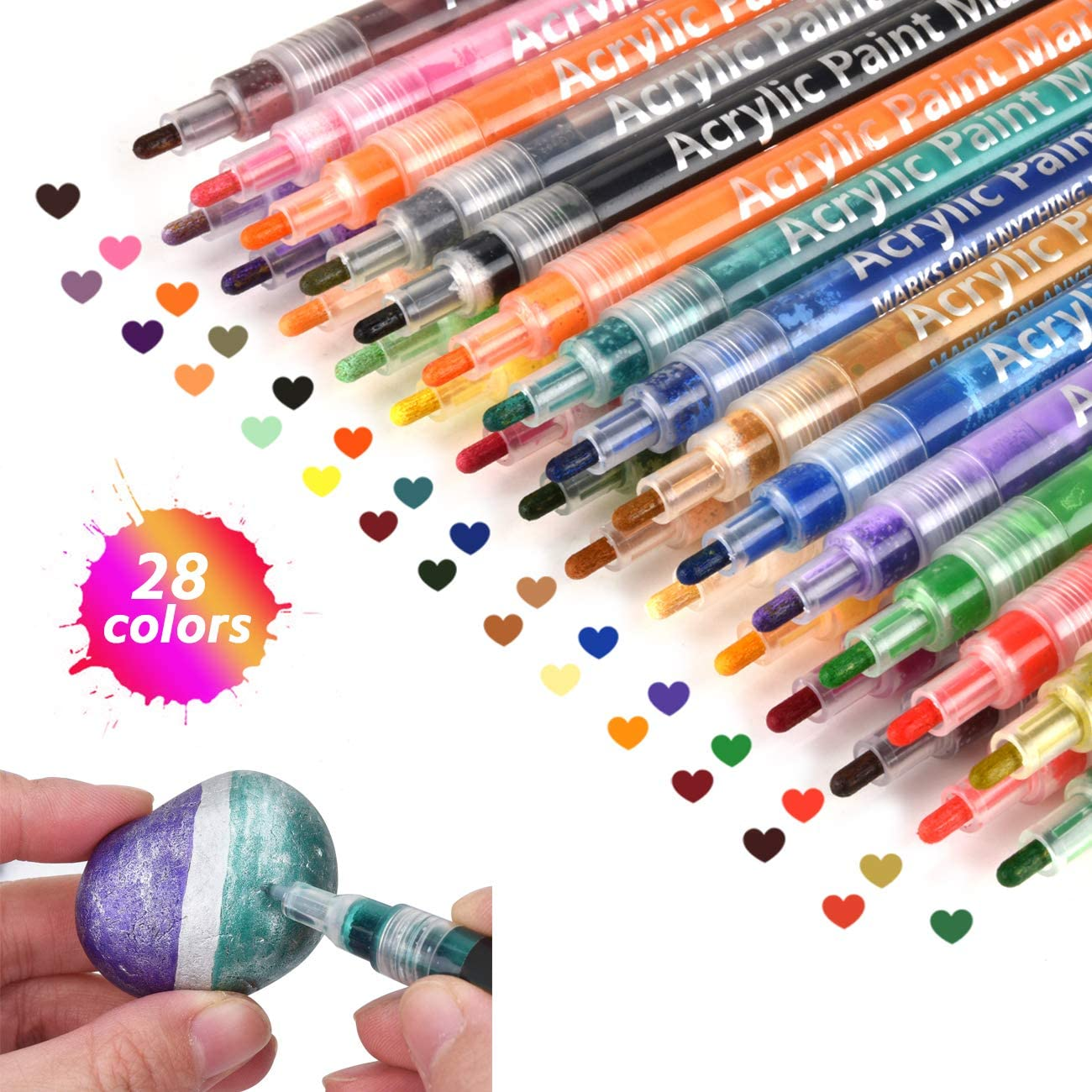 Acrylic Max 52% OFF 28 Colors Drawing Marker Paint for Los Angeles Mall Wood Glass Pens Roc