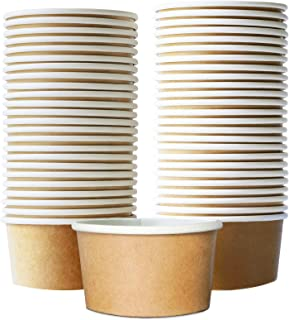 Paper Ice Cream Cups - 50-Count 9-Oz Disposable Dessert Bowls for Hot or Cold Food, 9-Ounce Party Supplies Treat Cups for ...