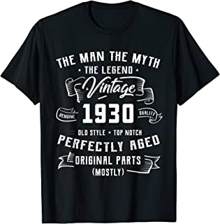 Mens Man Myth Legend 1930 90th Birthday Gifts For 90 Years Old T-Shirt