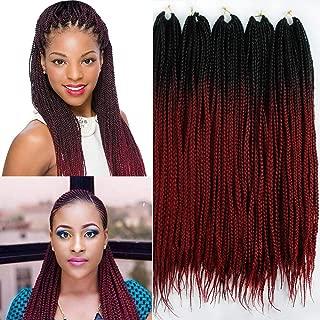 22 inch 3 Strand Crochet Braid Hair Ombre Black Burgundy Crochet Box Braids Synthetic Hair Extensions 110roots/lot (1B bug)