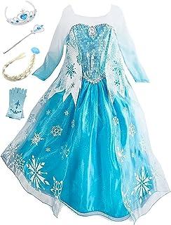 4acdf7180c2 Eleasica Petites Filles Robe Longue Déguisements Manches Longues Princesse  Elsa Reine des Neiges Costume et Accessoires