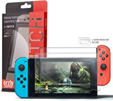 Orzly Glass Screen Protectors compatible with Nintendo Switch - Premium Tempered Glass Screen Protector TWIN PACK [2x...