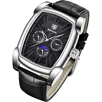 BENYAR Watch for Men Date Week Moon Phases Square 3ATM Waterproof Black Brown Blue Leather Strap Fashion Casual Classic Retro Rectangle Men's Wrist Watches Perfect Gifts for Friend