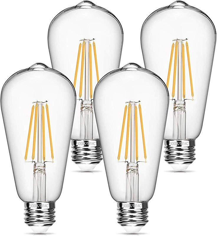 Vintage LED Edison Bulb 6W Dimmable LED Filament Bulb 60W Equivalent 3000K Soft White 620LM E26 Base ST64 Antique Light Bulbs Decorative Clear Glass For Home Reading Room Bathroom Kitchen 4 Pack
