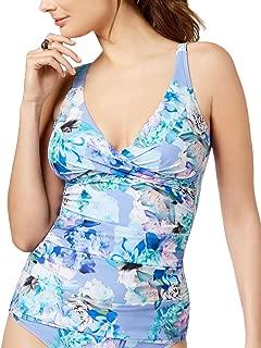 Womens Printed Twist-Front Tummy-Control Tankini Swim Top