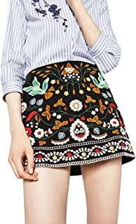 Women's A-Line Floral Embroidered Mini Skirt