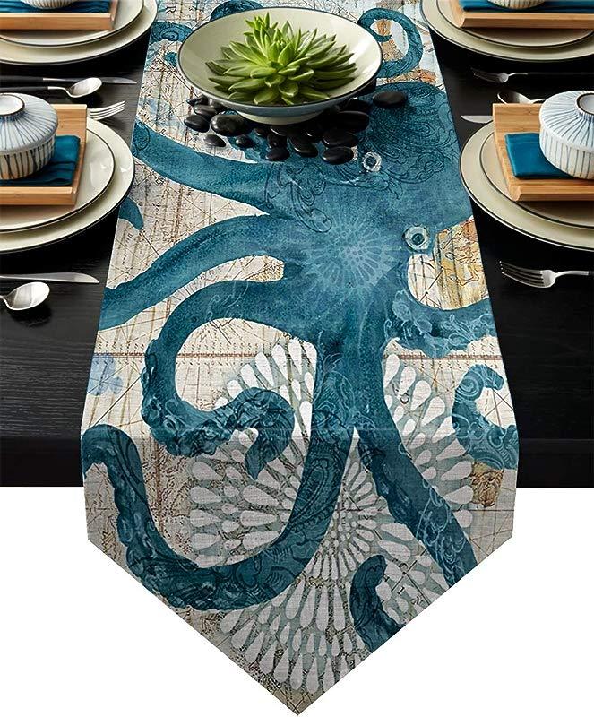 Vandarllin Cotton Linen Table Runner Dresser Scarves Octopus Ocean Animal Nautical Themed Retro Non Slip Burlap Table Setting Decor For Wedding Party Holiday Dinner Home 13 X70