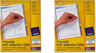 """AVERY 16283 1.75/"""" x 1/"""" 5 Assorted Colors 80//Pk Printable Self-Adhesive Tabs"""