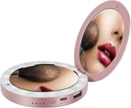 Shinngo 3000mAh Portable Charger Mirror Compact Vanity Mirror with Lights for Personal Handheld Makeup (Rose-Gold)