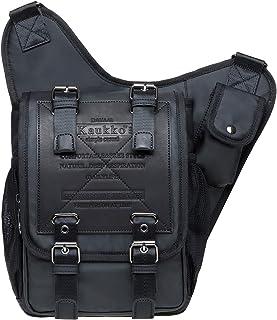KAUKKO Black01 Umhängetasche für Herren und Jungen, Vintage-Stil, aus Segeltuch, Militär-Leder, Patchwork-Umhängetasche, Khaki, tolles Geschenk für Familie und Freunde