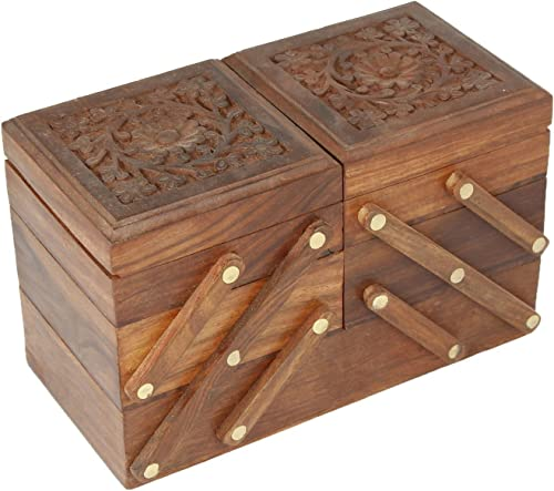 Handmade Wooden Jewellery Box For Women Jewel Organizer Hand Carved Carvings 5 In 1 Gift Items