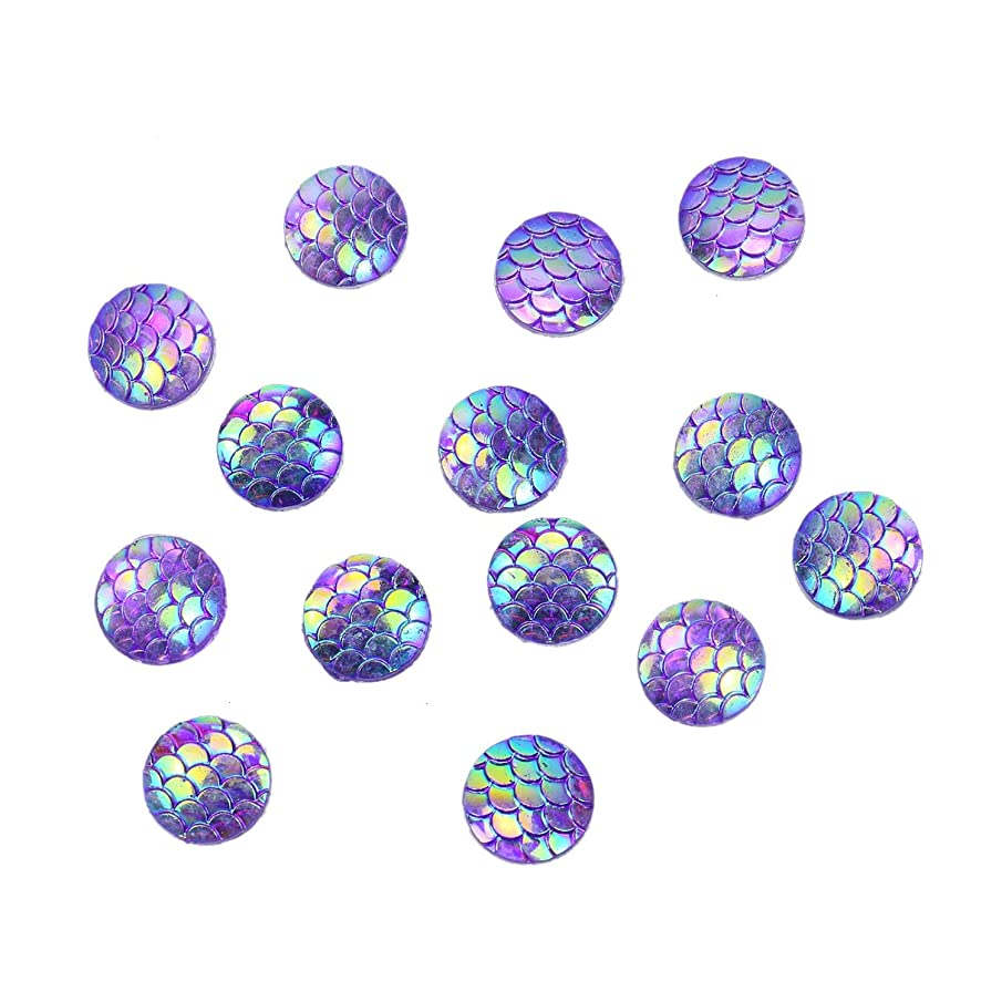 Monrocco 150pcs Sparkly Flat Back Resin Cabochons 12mm Round Circle Resin Mermaid Fish Dragon Scale Dome Seals Skin Cabochon