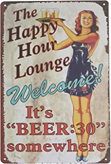 UNIQUELOVER Metal Tin Signs, Funny Beer Sign Pinup Girl Happy Hours Sign Retro Vintage Garage Sign for Home Kitchen Wall Art Posters Pub Bar Plaque Decor 12 X 8 Inches / 30 x 20cm