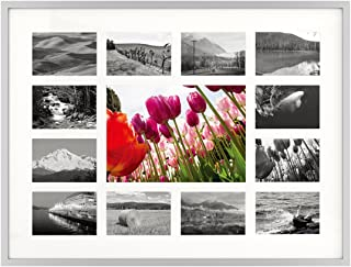12x16 Silver Aluminum Metal Collage Frame - 13 Opening Ivory Mat - Displays One 5x7 Photo and Twelve 2x3 Photos - Real Glass, Sawtooth Hangers, Swivel Tabs - Wall Mounting, Landscape, Portrait