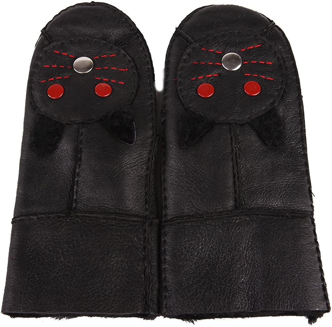 URSFUR Womens Genuine Lambskin Leather Mitten with Cat Mouse Face