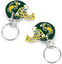 سلسلة مفاتيح على شكل خوذة وجهان للخوذة وبشعار فريق داكوتا الشمالية من الرابطة الوطنية لرياضة الجامعات
