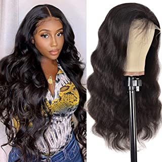 Shuangya hair Human Hair Wigs 18inch Body Wave Lace Front Wigs Human Hair Pre Plucked 130% Density 9A Brazilian Virgin Rem...