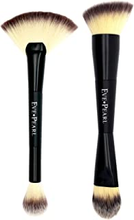 EVE PEARL Dual Brush Set Contour Blending Fan Highlighter Must Have Makeup Brushes Set Of 2 Synthetic Cruelty Free Hypoallergenic