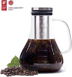Cold Brew Coffee Maker, Premium Quality Glass Carafe with Airtight Stainless Steel Lid Brews Hot or Iced Coffee Tea Includes Removable Mesh Filter Fruit Infuser 1.5 Quart / 48 oz/ 6 cup