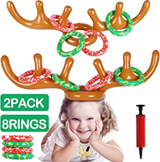 MGparty Christmas Inflatable Reindeer Antler Toss Game for Christmas Kids Teens Party Favors Supplies Outdoor Indoor Ring Toss Game