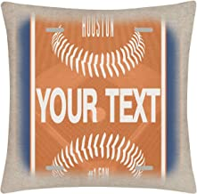 Bleu Reign BRGiftShop Personalized Custom Name Baseball Team Houston 15.75x15.75 inches Linen Pillow Cover - no Insert