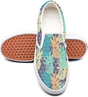 Vosda Funny Yellow Pineapple Faces White Classic Women's Canvas Slip-On Shoes Sneaker