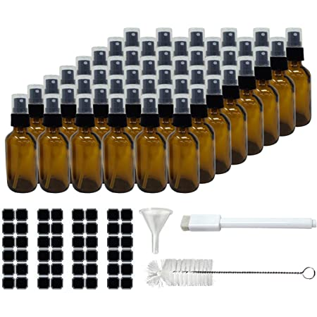 Mockins 48 Pack Amber 2 Oz Spray Glass Bottle   The Amber Misting Glass Bottles Includes Sprayers & a Funnel and Brush with Bonus Labels to Easily Identify it's Contents