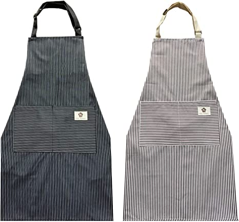Amazon Com 2 Pack Cotton Adjustable Aprons Cooking Apron Kitchen Apron Aprons For Women And Men Black Stripes Coffee Stripes Clothing