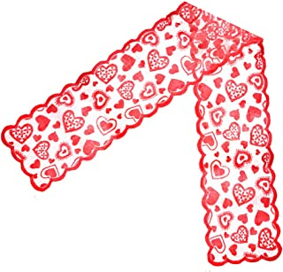 obmwang 2 Pack Valentines Heart Table Runner Red Lace Table Runner for Valentine's Day Wedding Home Decorations, 13 X 72 Inch